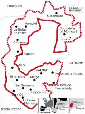 Mapa de la D.O. Montsant